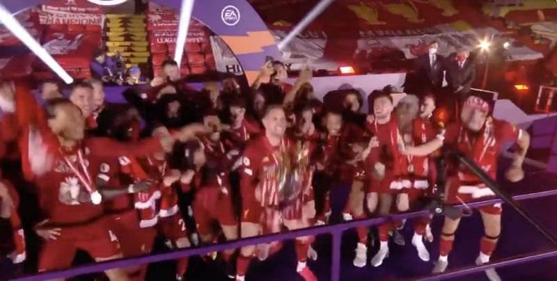 (Video) Jordan Henderson lifts PL trophy to end 30 years of hurt in brilliant emotional Kop celebrations