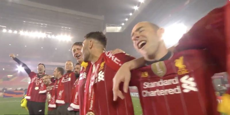 (Video) Klopp leads epic YNWA after running off mid-interview