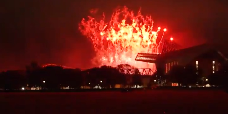 (Video) Sensational Anfield fireworks paint the Liverpool night sky red, as seen from Stanley Park