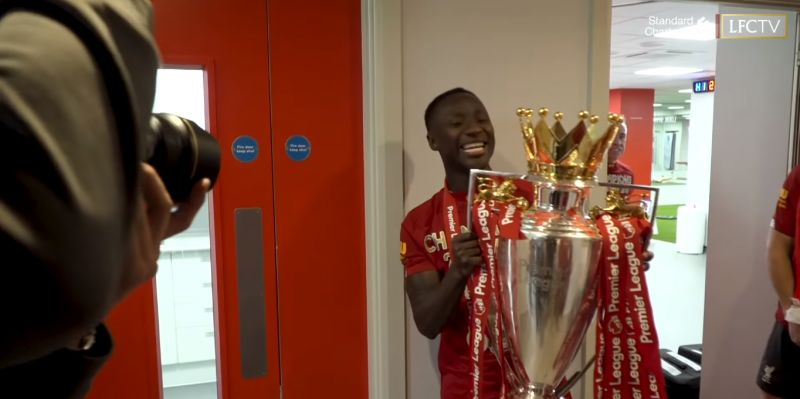 """(Video) """"Yes lad!"""" – Naby is buzzing as he poses with Premier League trophy in unseen clip"""