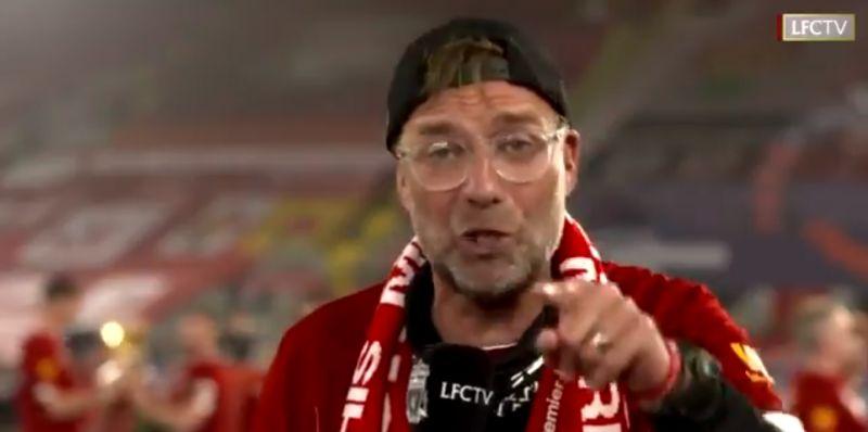 "(Video) ""Because of you!"" – Klopp dedicates English, European & World titles to LFC fans"