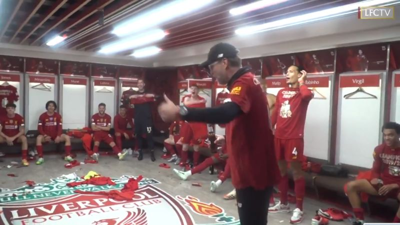 (Video) Incredible dressing room scenes as Klopp leads epic post-match celebrations