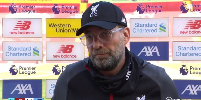 """(Video) """"It's our fault"""" – Klopp not interested in blaming officiating for LFC's draw to Burnley"""