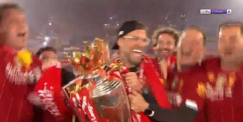 (Video) LFC backroom staff led by Lijnders ambush Klopp interview with Premier League trophy