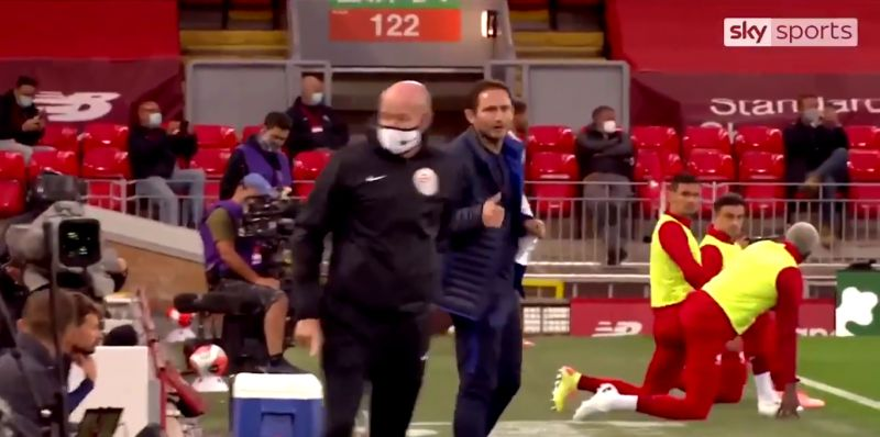 (Video) Lampard drops attitude with LFC bench after Trent's free-kick; Lijnders gets last laugh