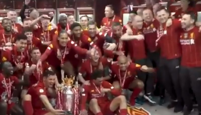 (Video) Matip continually slaps Fabinho's bald head during title celebrations and it's brilliant