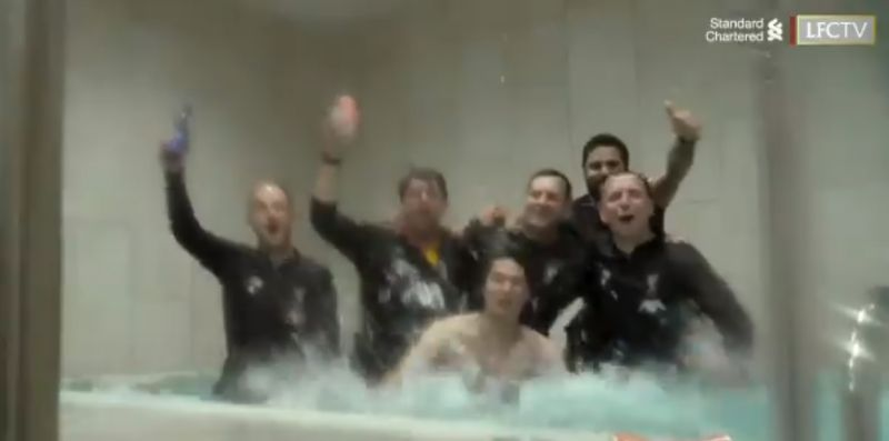 (Video) Fully-clothed LFC coaches dive in Minamino's bath to celebrate with him in hilarious unseen footage