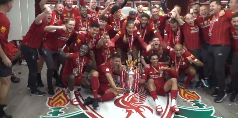 "(Video) ""Campione, campione, ole ole ole!"" – LFC squad drop iconic chant in dressing room celebrations"