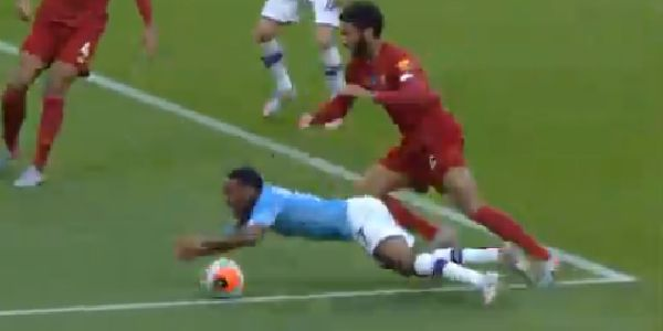 (Video) Sterling throws himself to the floor but Gomez gives him a reason to for City opener