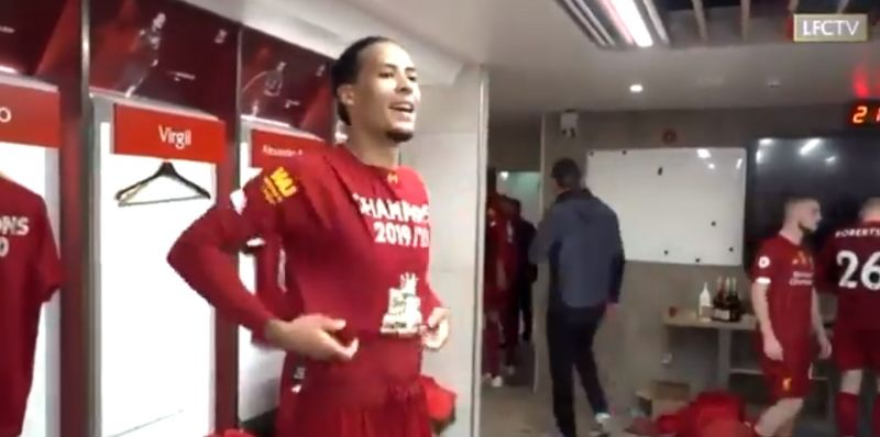 "(Video) Salah teased by van Dijk in dressing room because he ""didn't want to score"" against Chelsea"