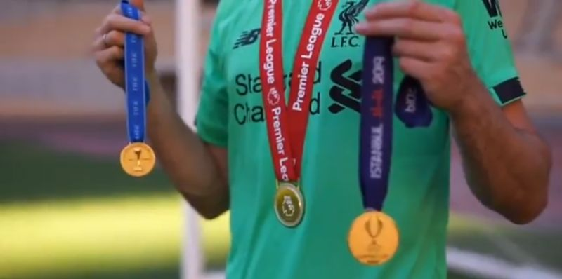 (Video) Adrian books out stadium to create 'movie trailer' to show off medals won with Liverpool