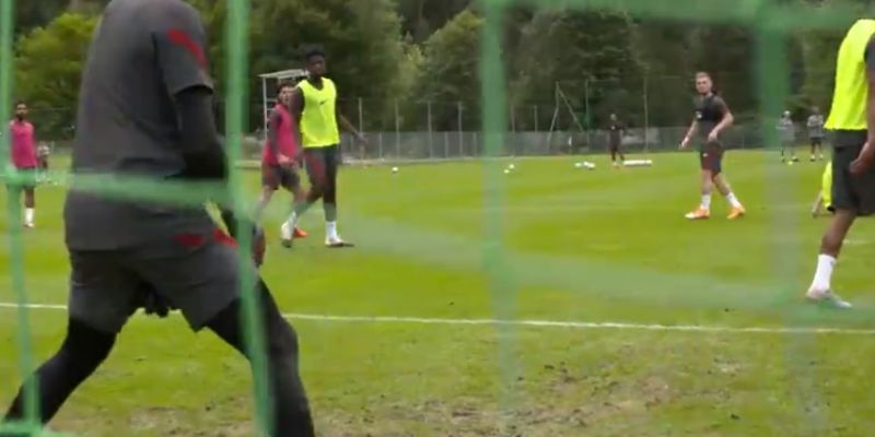 (Video) Elliott bags a belter in Liverpool training after brilliant overlap by Grujic