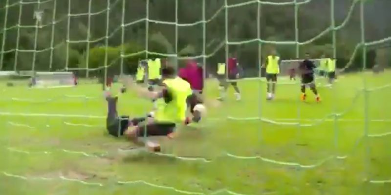 (Video) Neco Williams pulls off dramatic last-ditch save as Adrian spills in Liverpool training