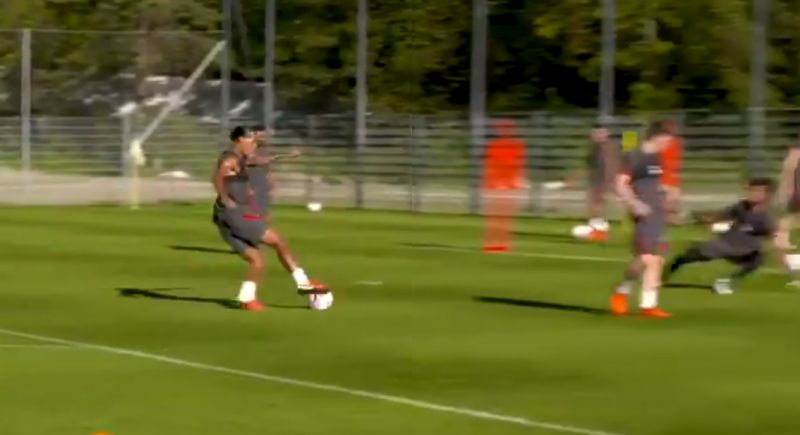 "(Video) ""Unlucky lad!"" – van Dijk gets cocky as he rounds Alisson in Liverpool training before tidy finish"