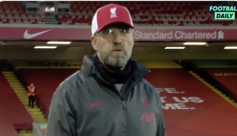 (Video) Klopp's one-word reaction to Liverpool 4-3 Leeds sums up crazy win
