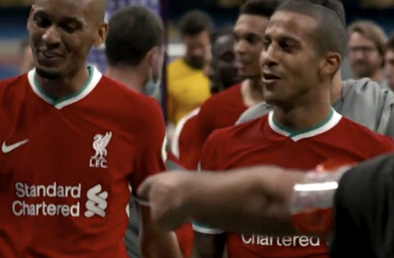 (Video) Thiago tells Fabinho: 'You give me a hard job to play in midfield – then play CB like that? F***'