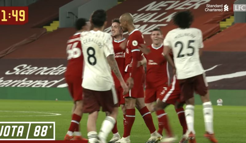 (Video) New angle shows Milner's sheer delight at Diogo Jota's PL debut goal