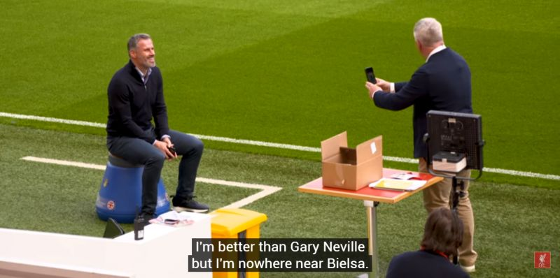 (Video) Carra jokes he's a better manager than Neville while sat on Bielsa's bucket