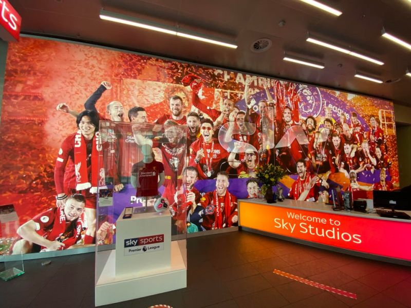 (Photo) Sky Studios redecorate with massive print of LFC lifting the Premier League trophy