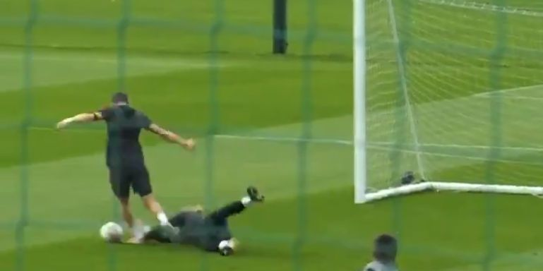(Video) 'Any room in that front three?' – Milner jokes after flooring Karius in training