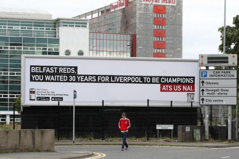 (Photo) Billboard celebrating Liverpool's Premier League title pops up in Belfast