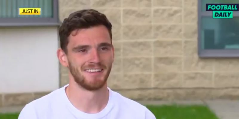 (Video) Robertson can't help but smile when asked about Thiago joining Liverpool