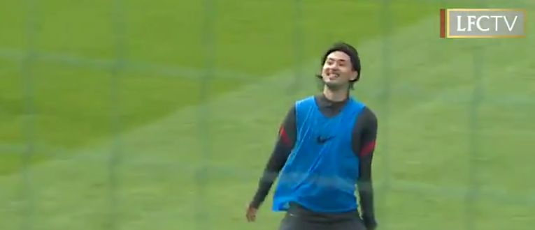 (Video) Minamino flashes smile after bagging quick-fire goals at Melwood
