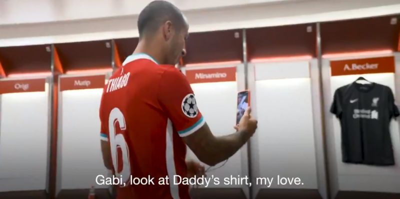 (Video) Thiago FaceTimes son to show off his new Liverpool shirt in signing day vlog