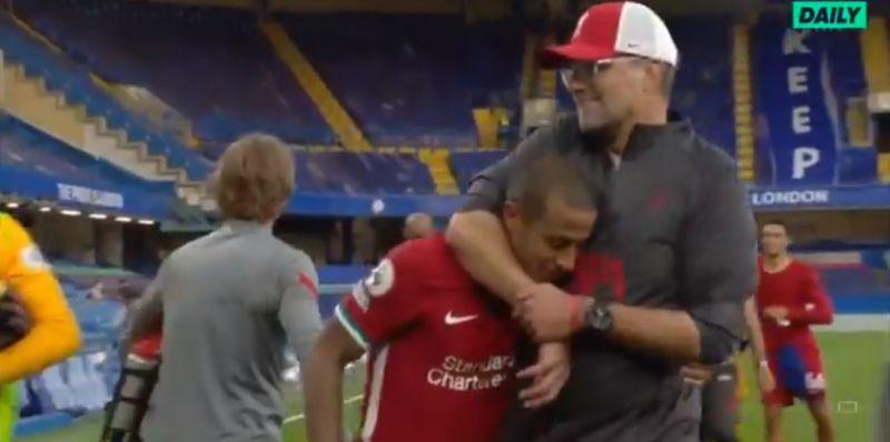 (Video) Klopp put Thiago in a headlock after stellar Liverpool debut
