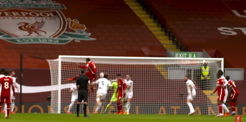 (Video) New angle shows the incredible height Virgil leapt for headed goal v. Leeds