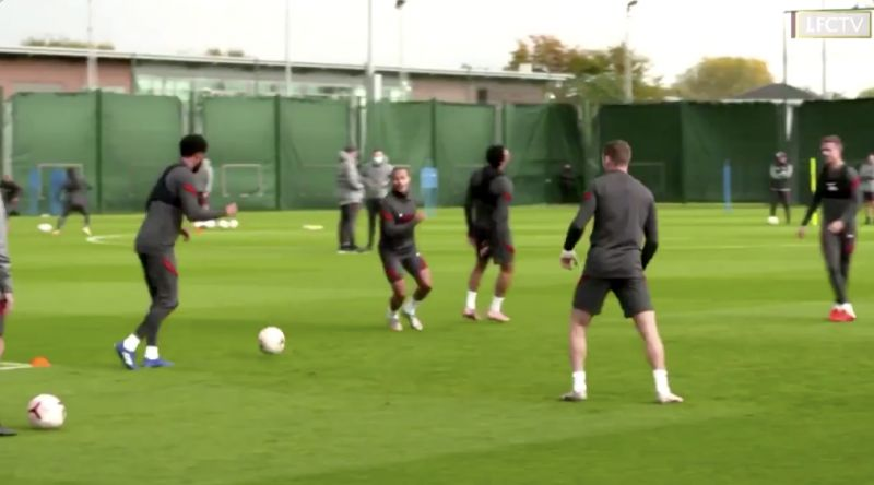 (Video) Thiago laughs at how good his own touch as he tricks Trent during Liverpool rondo