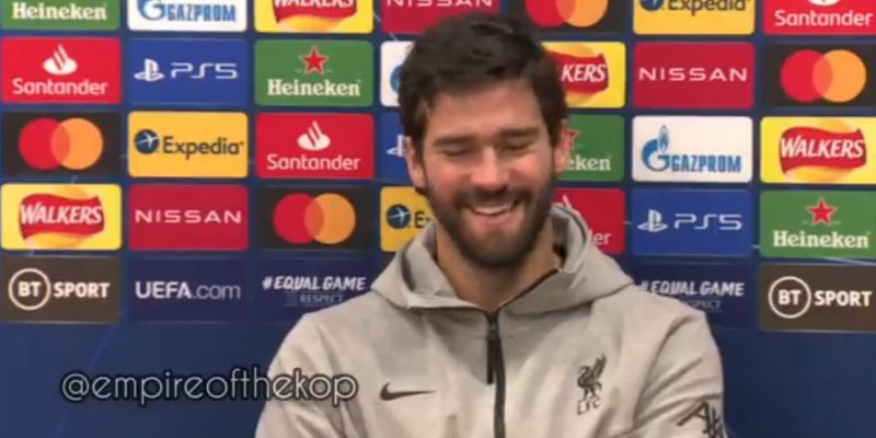 """(Video) """"No… 2-3 weeks maximum"""": Alisson reveals how he told LFC physios to half his recovery time from injury"""
