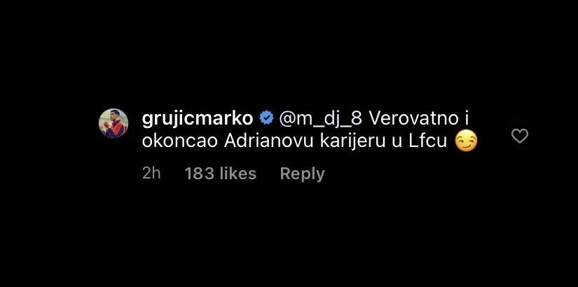 (Image) Grujic seemingly slates Adrian online for 7-2 loss after signing for Porto – Klopp will be furious