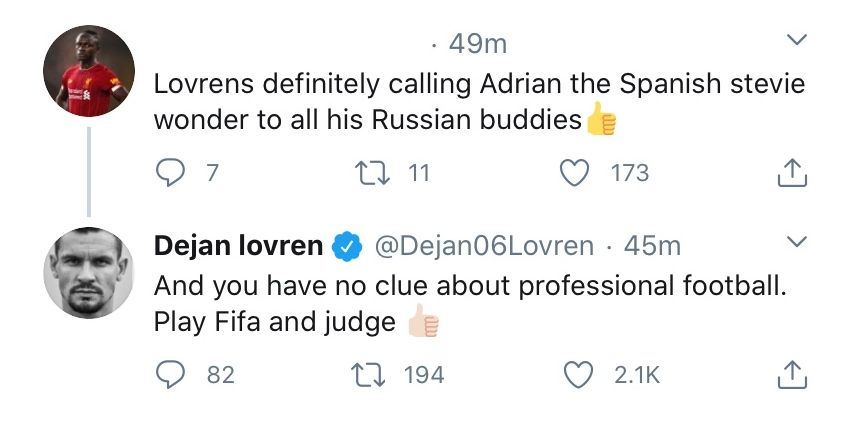 (Images) 'You have no clue…play FIFA and judge' – Lovren takes down some LFC fans on Twitter after 7-2 humbling