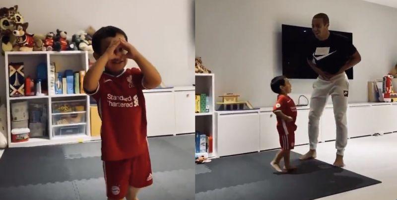 (Video) Thiago shares cute & funny clip with son wearing Bayern shorts & LFC shirt