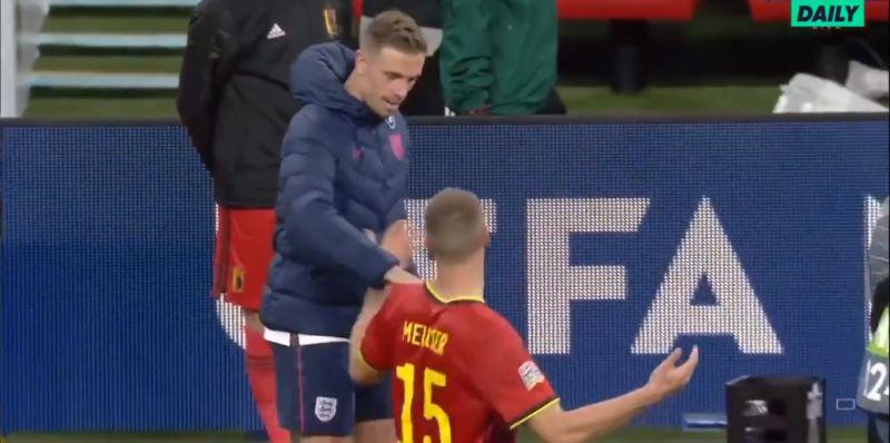 (Video) Belgian defender Meunier mocks Henderson for theatrics to win England a penalty