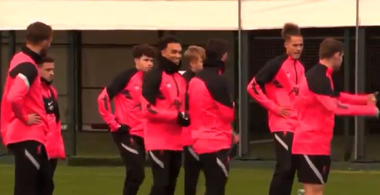 (Video) Jovial Trent cheers up grumpy Robbo in LFC's pre-Midtjylland training