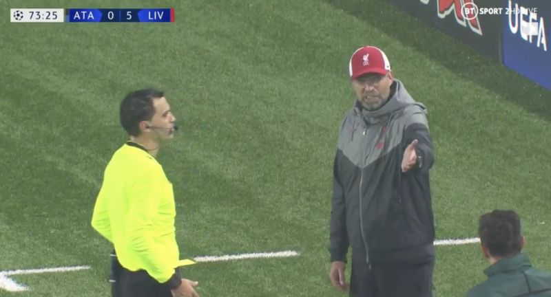 (Video) Mic picks up Klopp's argument with ref after yellow card with Reds 5-0 up