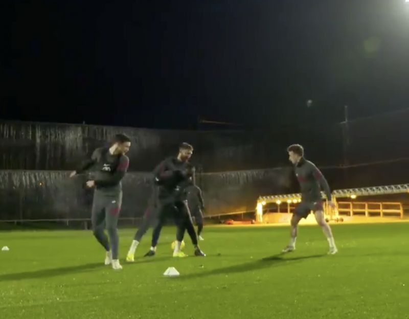 (Video) 'Double Meg!' Andy Robertson loves his own skill at Kirkby training