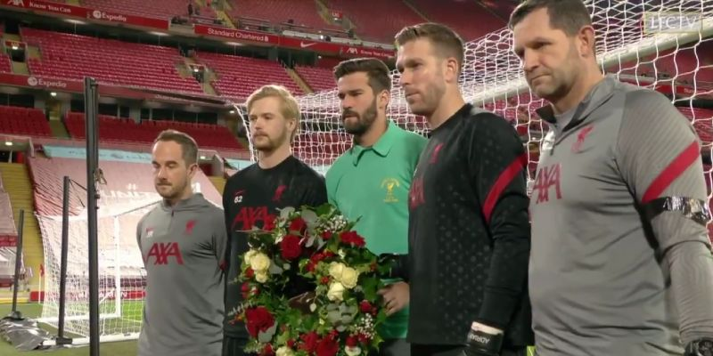 (Video) Alisson leads Liverpool goalkeepers as Reds pay respects to Ray Clemence