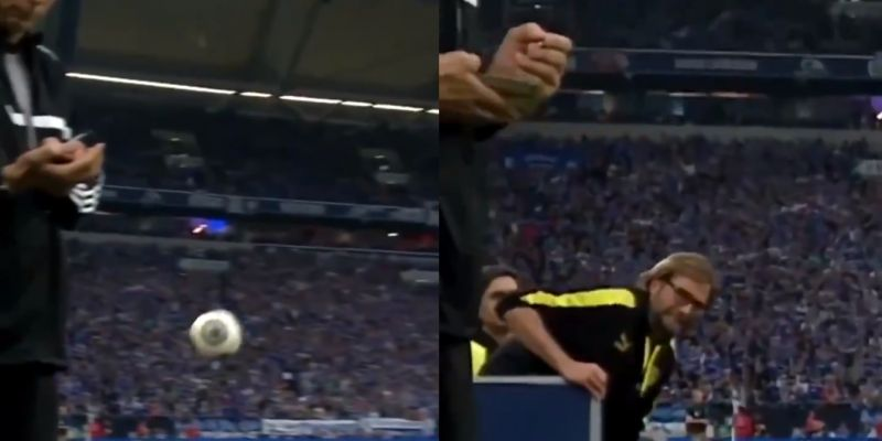 (Video) Funny clip of Klopp booting a ball at a referee's head emerges on social media