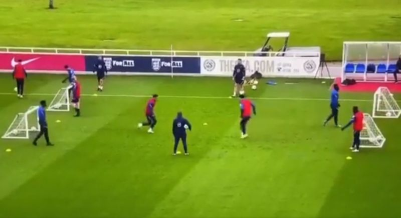 (Video) Curtis Jones shows off fancy footwork & nutmegs team-mate in England training before scoring