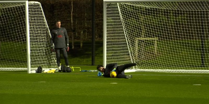 (Video) Pitaluga smashes goalkeeper drill in first team training as Adrian watches on