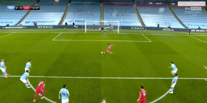 (Video) Salah slams penalty to give Liverpool lead over City after clumsy Walker clears out Mane
