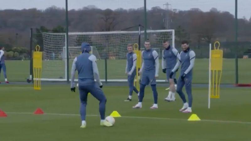 (Video) Wow: Bale caught making Loris Karius joke in Spurs training as mic catches ex-Real Madrid man taking the mickey