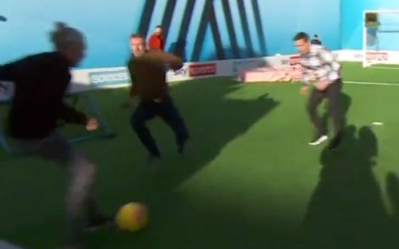 (Video) Jamie Carragher clatters Jimmy Bullard with lethal sliding tackle on Soccer AM