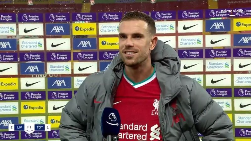 (Video) Ecstatic Jordan Henderson salutes Liverpool's 'outstanding' win as Reds go top