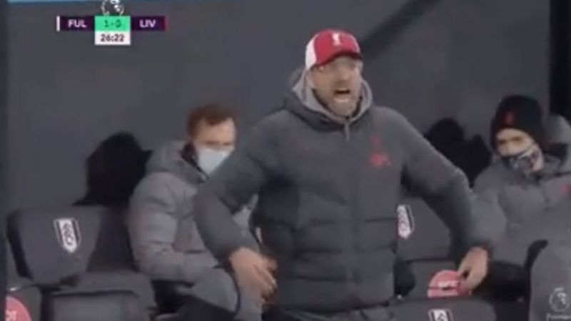 (Video) Klopp loses his mind on the touchline early in Fulham first-half