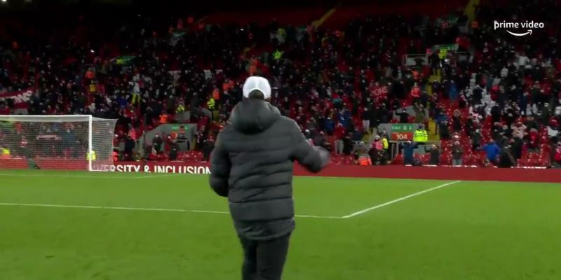 (Video) Jurgen Klopp celebrates with the Kop after big win; Anfield faithful respond in fine voice