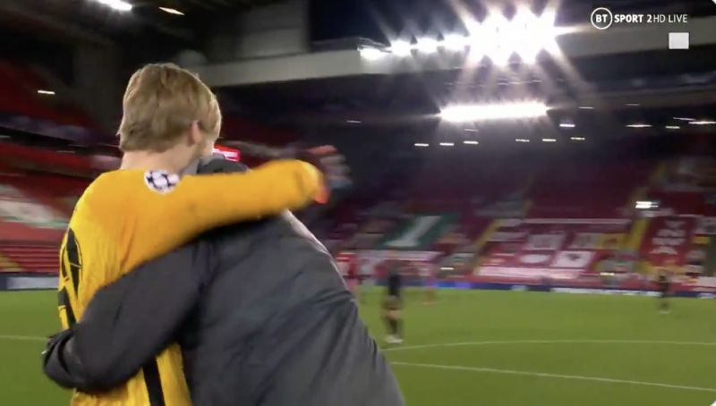 (Video) Klopp makes beeline for Kelleher at full-time and gives him epic Match Winner's hug
